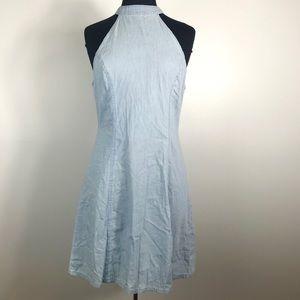 NWT Chambray Denim Halter Neck Mini Dress Size L